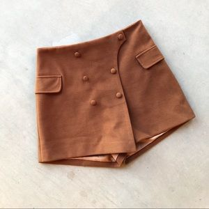CHICWISH Our First Date Wool Blend Flap Skort